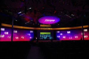 Lance Armstrong Global Cancer Summit stage and backdrop.JPG